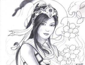 动漫人物素描:动漫美女素描图片欣赏组图