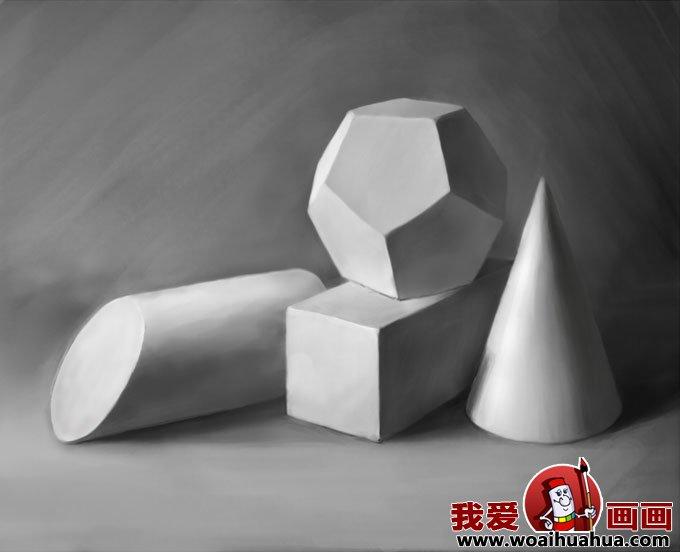 素描几何体 8副石膏几何体素描作品高清图片