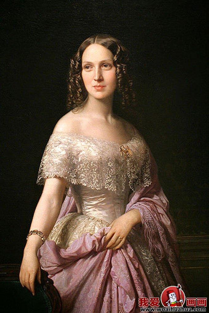 欧式宫廷古典油画人物-尊贵女性油画图片欣赏(11)