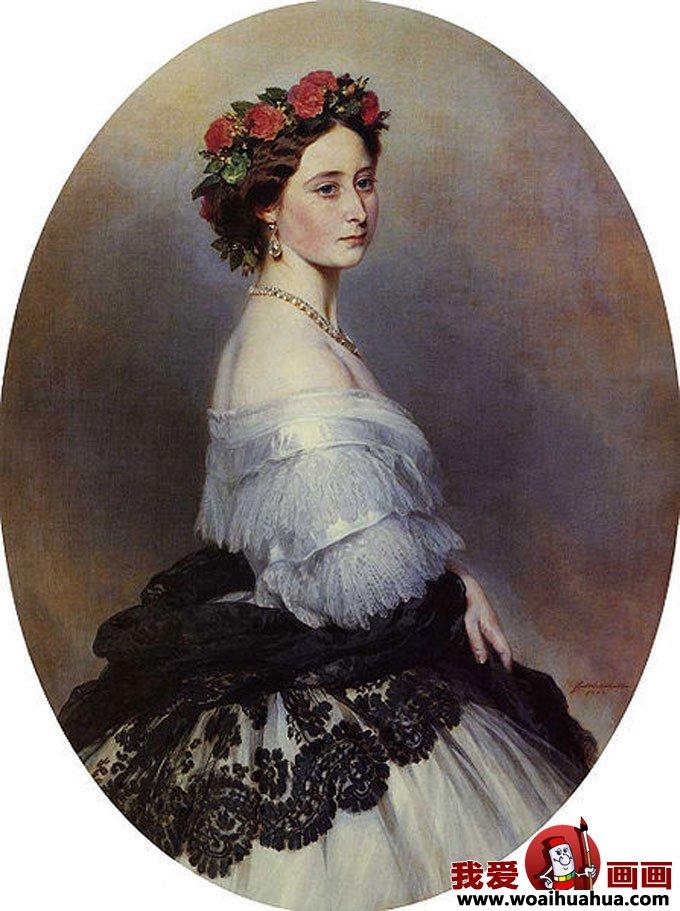 欧式宫廷古典油画人物-尊贵女性油画图片欣赏(14)
