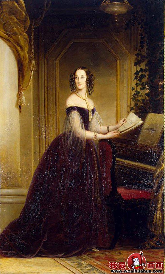 欧式宫廷古典油画人物-尊贵女性油画图片欣赏(15)