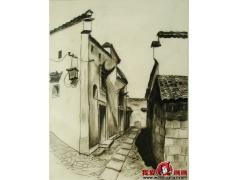 江南古街风情素描优秀作品高清图片欣赏
