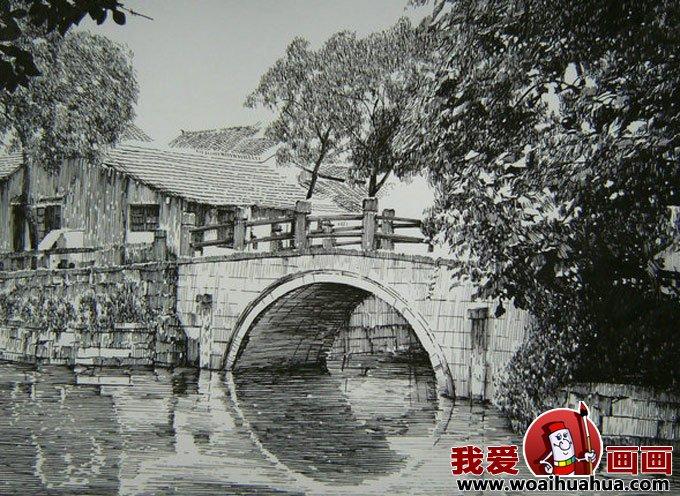 三幅钢笔画佳作欣赏:江南风景小桥流水人家