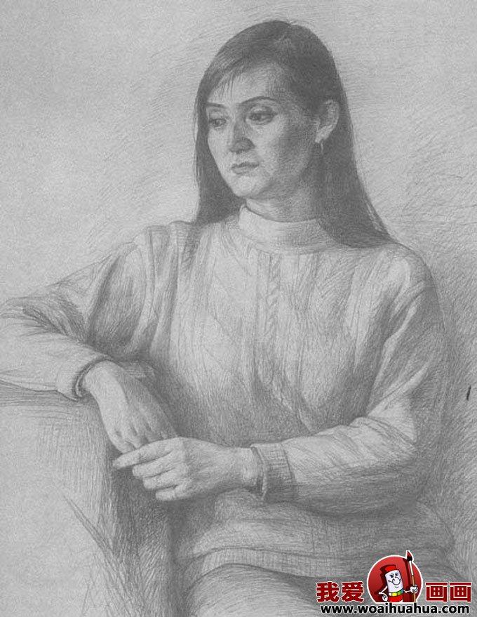 穿毛衣的妇女人物素描半身像图片