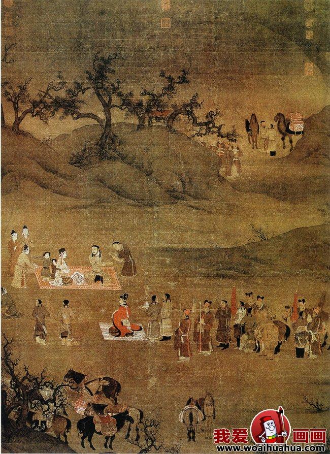 《文姬归汉图》宋代陈居中的工笔风景人物画赏析