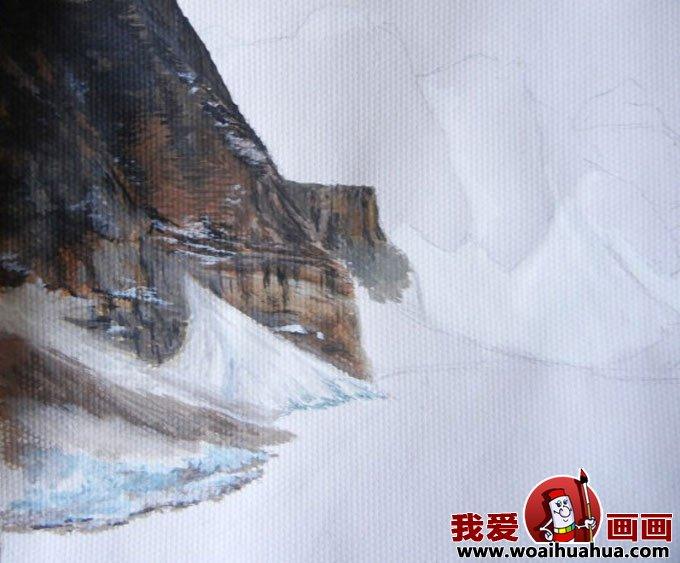 水粉风景画绘画步骤图文教程:雪山蓝天森林和湖水(一)