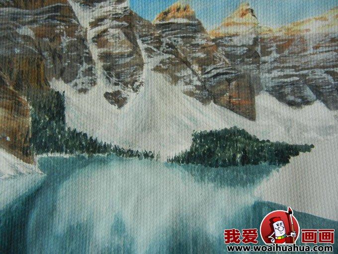 水粉风景画绘画步骤图文教程:雪山蓝天森林和湖水