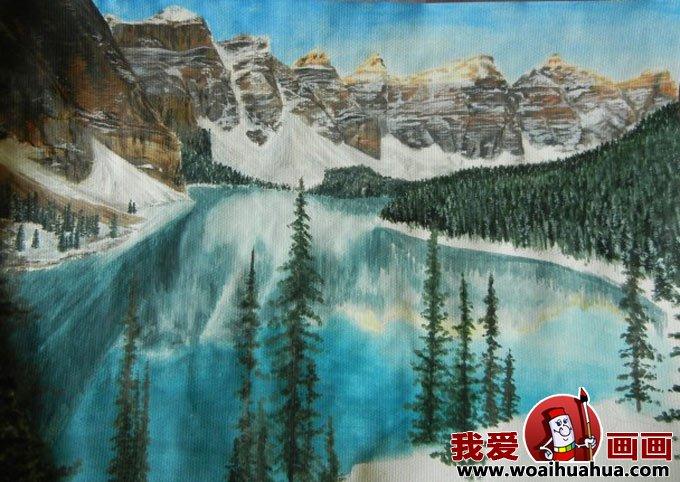 水粉风景画绘画步骤图文教程:雪山蓝天森林和湖水(二)