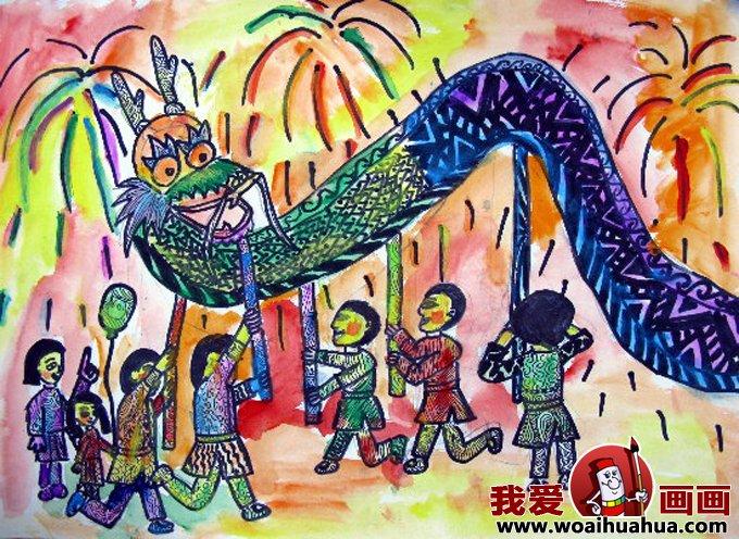 儿童画欢度春节图片:小朋友欢喜过新年作品(2)