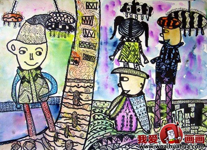 儿童画欢度春节图片 小朋友欢喜过新年作品 4