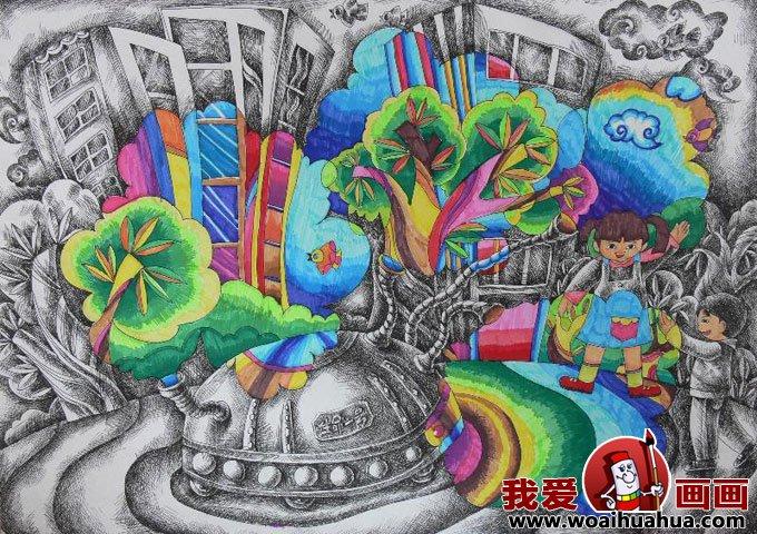 低碳环保科幻画图片学生儿童画欣赏 2