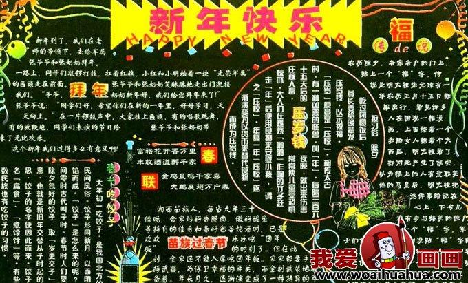 迎新春春节黑板报和春节黑板报素材花纹图片(2)