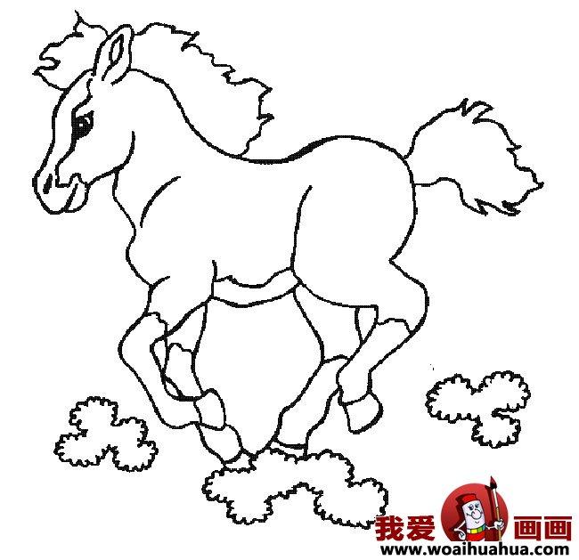 简笔画马,关于马的简笔画10副(4)_儿童画教程_学画画