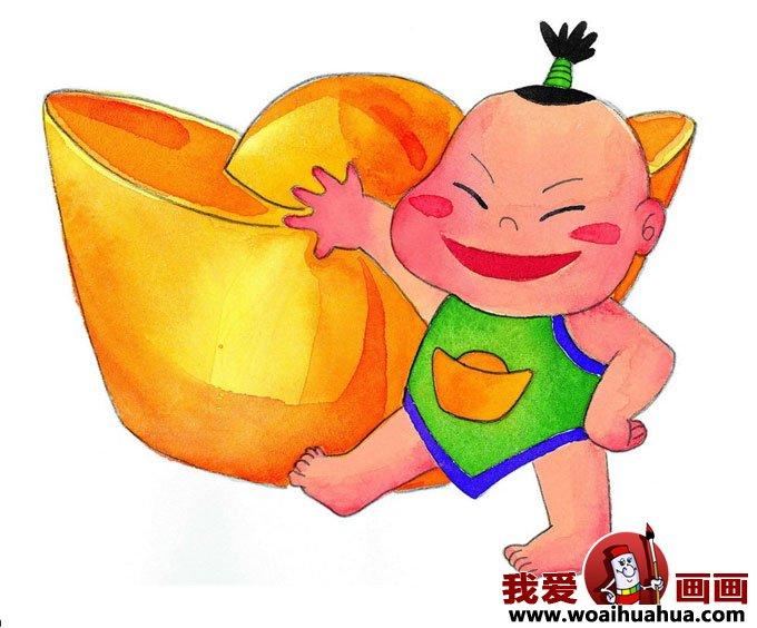 过年图片:小胖孩扛着大元宝卡通画