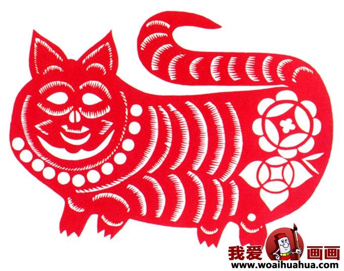民间窗花剪纸图案 传统老虎的简单剪纸