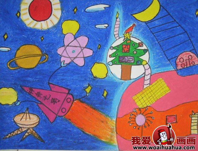 儿童科学幻想画图片图书馆机器人
