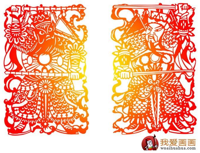中国传统人物剪纸图片:门神秦琼尉迟恭(2)