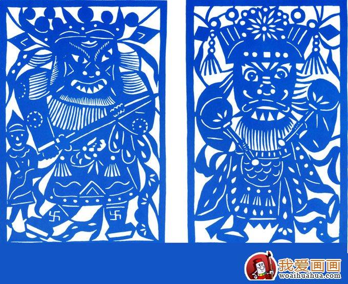 中国传统人物剪纸图片 门神秦琼尉迟恭 3
