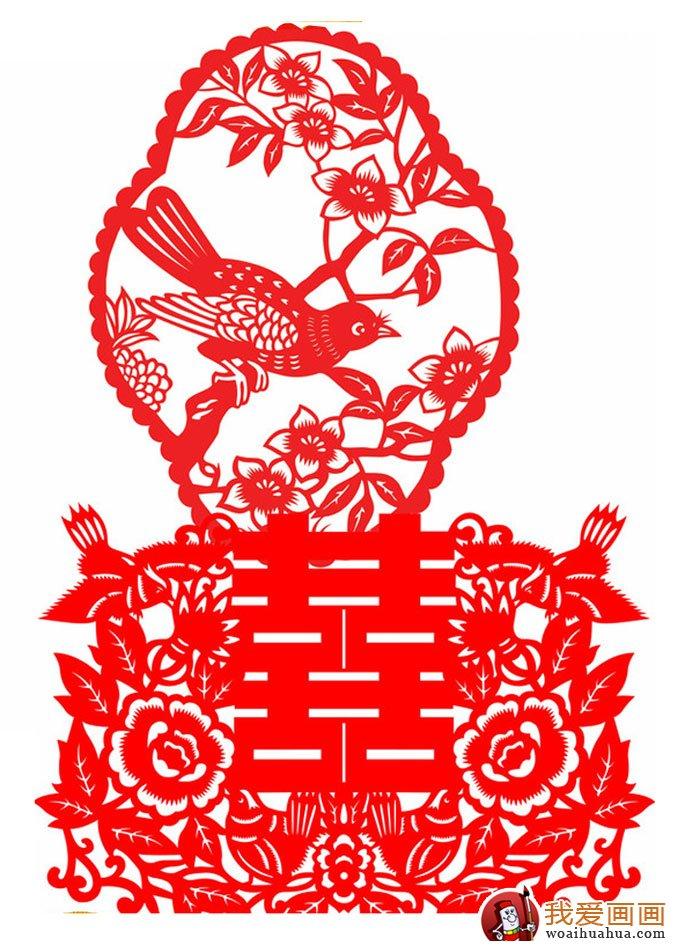 喜字剪纸图案大全 双喜鸳鸯喜鹊凤凰花纹剪纸图案