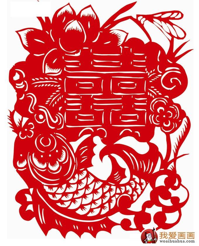 喜字剪纸图案大全:双喜鸳鸯喜鹊凤凰花纹剪纸图案(8)