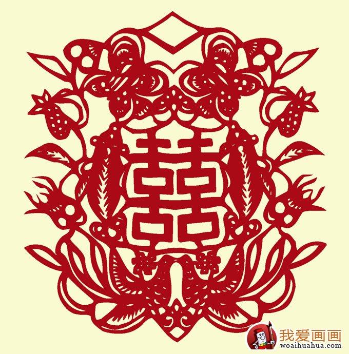 喜字剪纸图案大全:双喜鸳鸯喜鹊凤凰花纹剪纸图案(9)