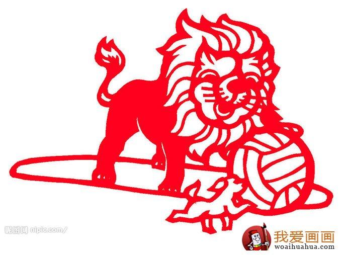 少年儿童手工小动物剪纸图片:狮子与狗