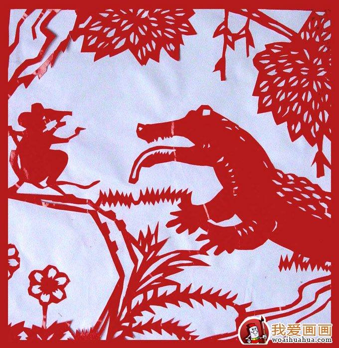 少年儿童手工小动物剪纸图片:鳄鱼与老鼠