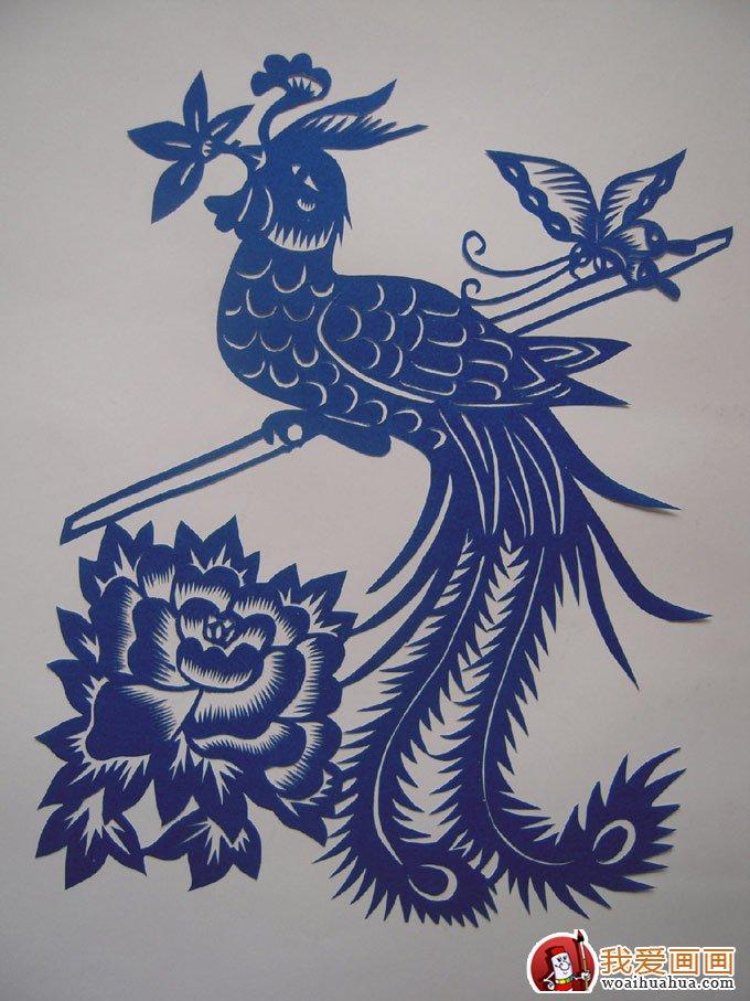 少年儿童手工小动物剪纸图片:凤凰牡丹