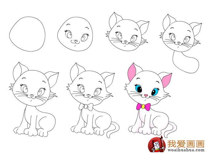 简笔画教程 可爱的小猫咪绘画步骤图片