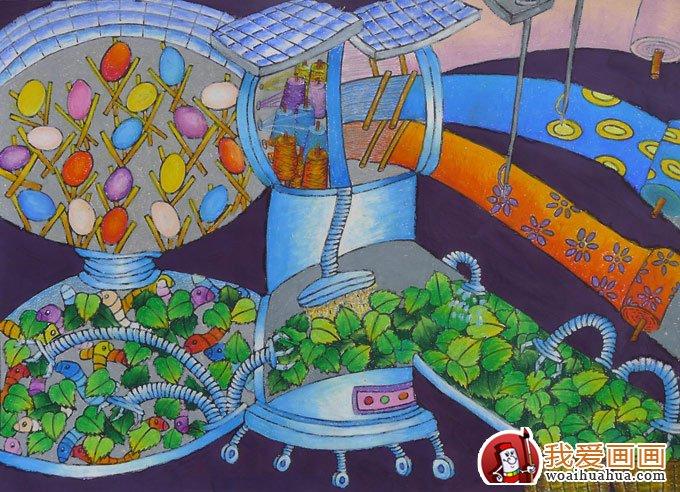 中学生的科技幻想画作品:自动化养蚕系统