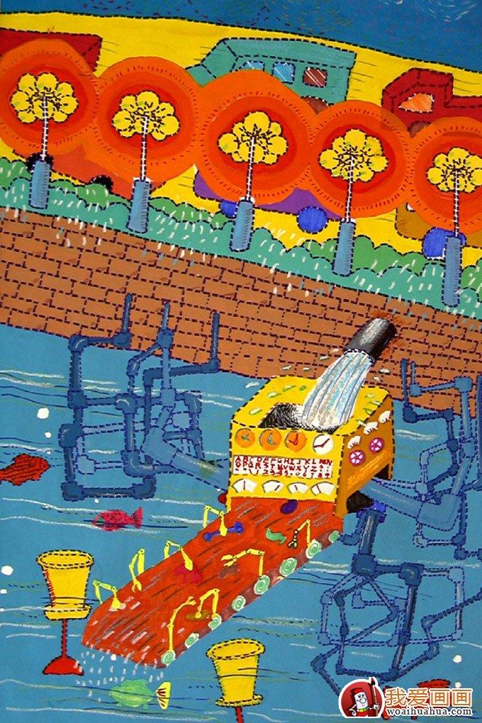 中学生科幻画:自动化养鱼系统_儿童画教程_学画画_我