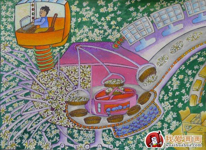 学画画 儿童画教程 科幻画 > 中学生科幻画:全自动采茶和茶叶生产线