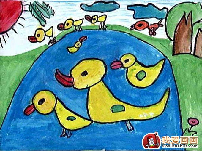 可爱的小鸭子:少儿水粉画获奖作品-儿童水粉画-我爱