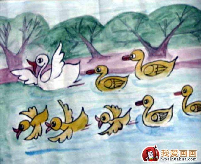 可爱的小鸭子:少儿水粉画获奖作品(2)-儿童水粉画-我