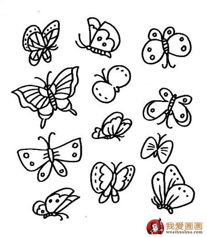 儿童简笔画蝴蝶,美丽的花蝴蝶简笔画图片 5