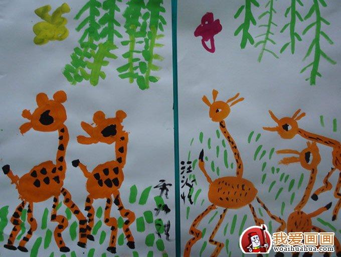 16副长颈鹿水粉画,儿童水粉画手绘作品欣赏(2)