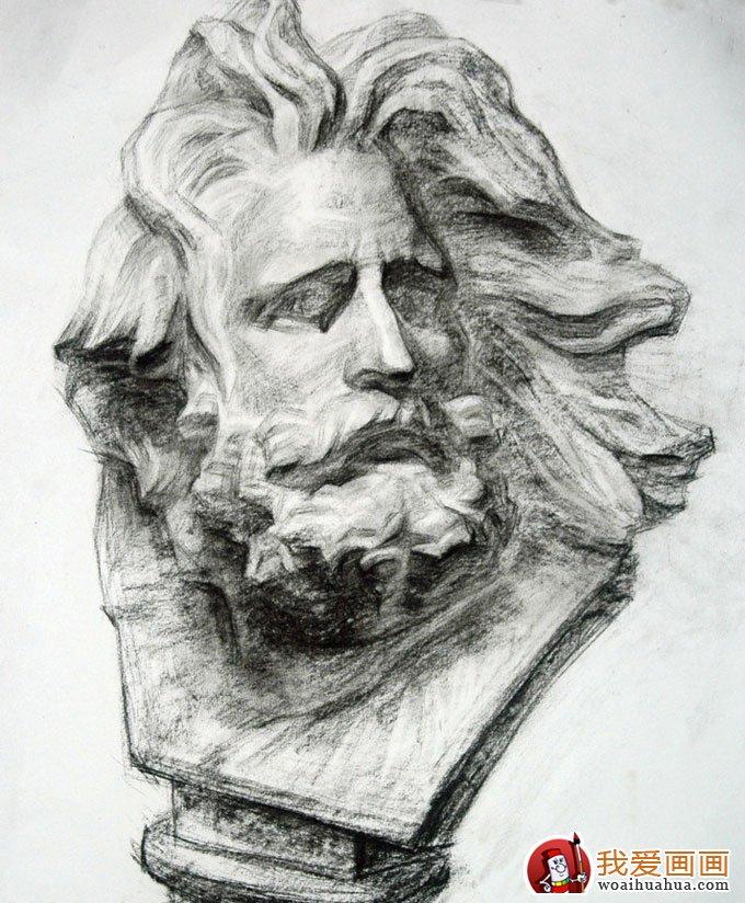 人物石膏像素描写生作品