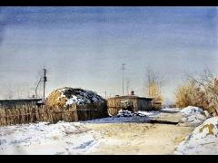 杜拙的水彩风景画欣赏:北方乡村风情水彩画(一)