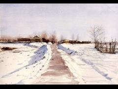 杜拙的水彩风景画欣赏:北方乡村风情水彩画(二)