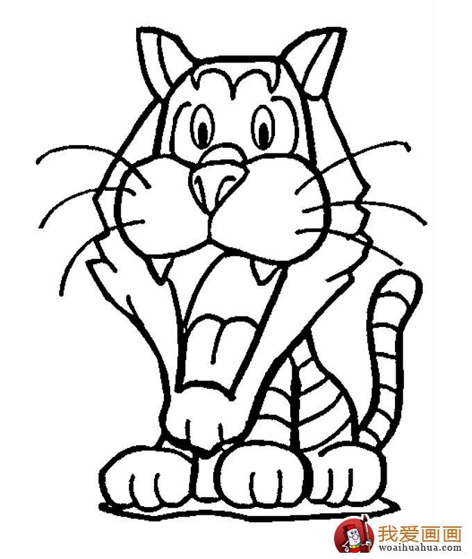 老虎简笔画,9副老虎的简笔画图片 5