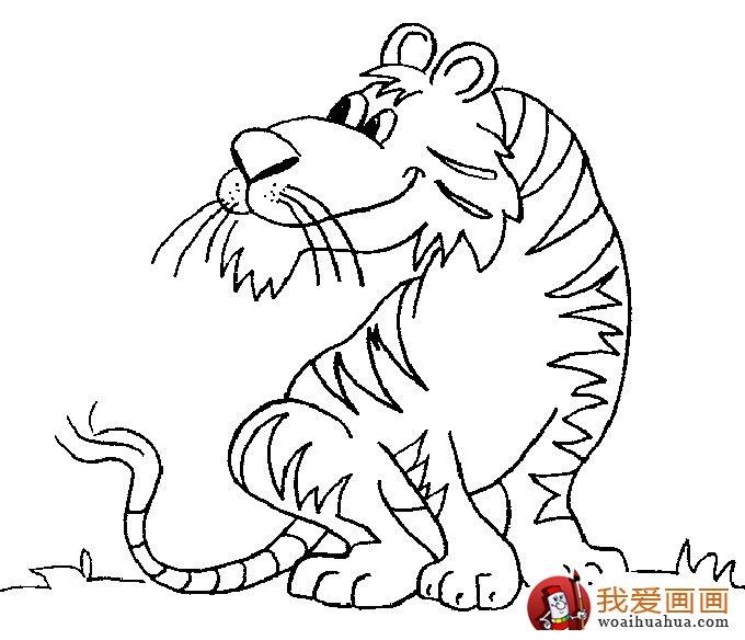 老虎简笔画,9副老虎的简笔画图片(6)-儿童简笔画-我爱画画网; 老虎简