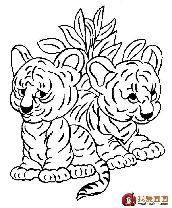 老虎简笔画图片2; 教你轻松学画动物简笔画:两只小老虎; 简笔画图片