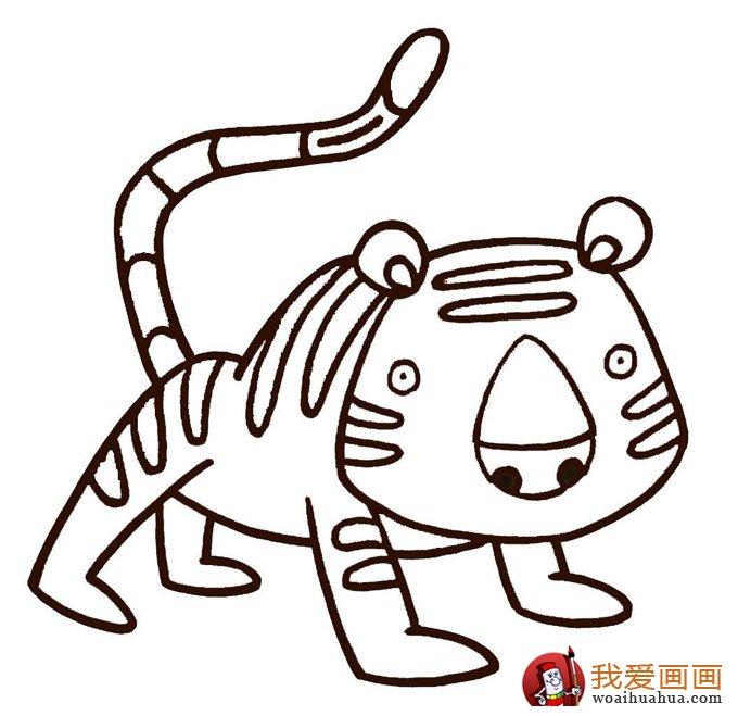 老虎简笔画,9副老虎的简笔画图片(8)