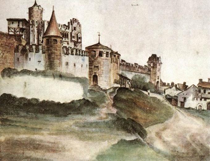 """的开拓者,世界上第一幅水彩画《一大块草皮》就是由他画出的。丢勒的""""水彩画问世,标志着西洋水彩画的诞生。他所画的《阿尔卑斯山》(1494年)、《大草坪》(1503年)等作品是目前最早的水彩画。他是最出色的"""