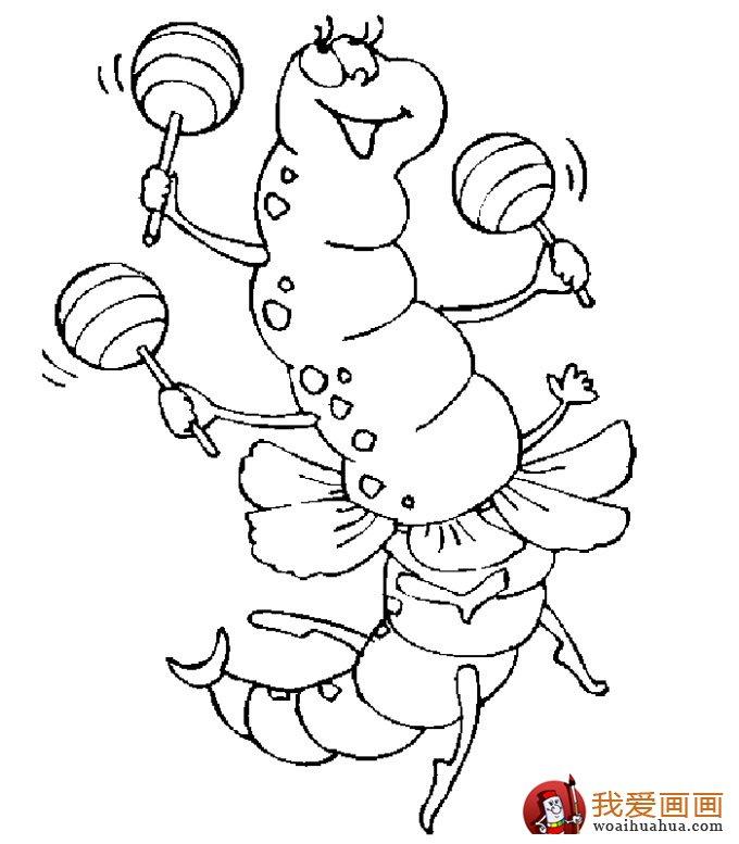 13副毛毛虫儿童简笔画:毛毛虫简笔画可爱图片(9)