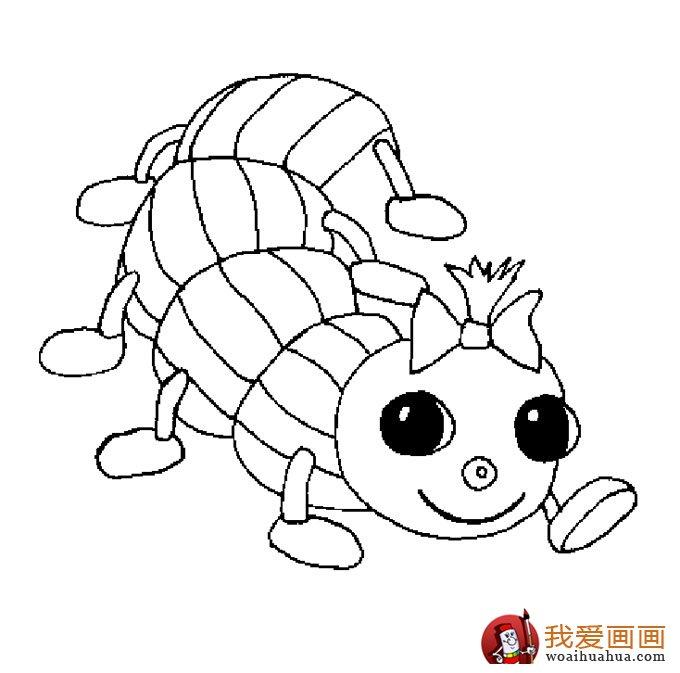 13副毛毛虫儿童简笔画:毛毛虫简笔画可爱图片(13)