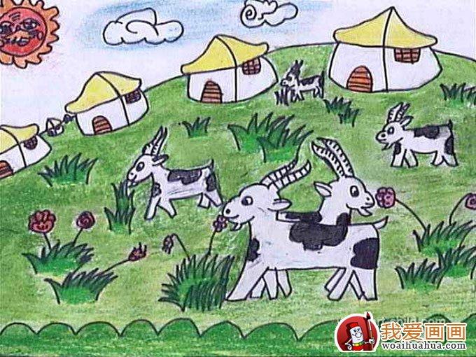 美丽的草原图片,儿童草原风景水彩画