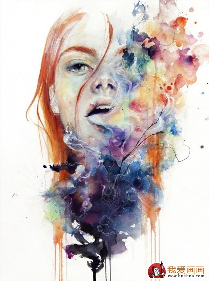 抽象唯美人物水彩画作品欣赏(2)
