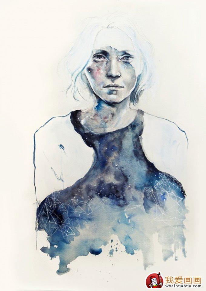 抽象唯美人物水彩画作品欣赏(5)