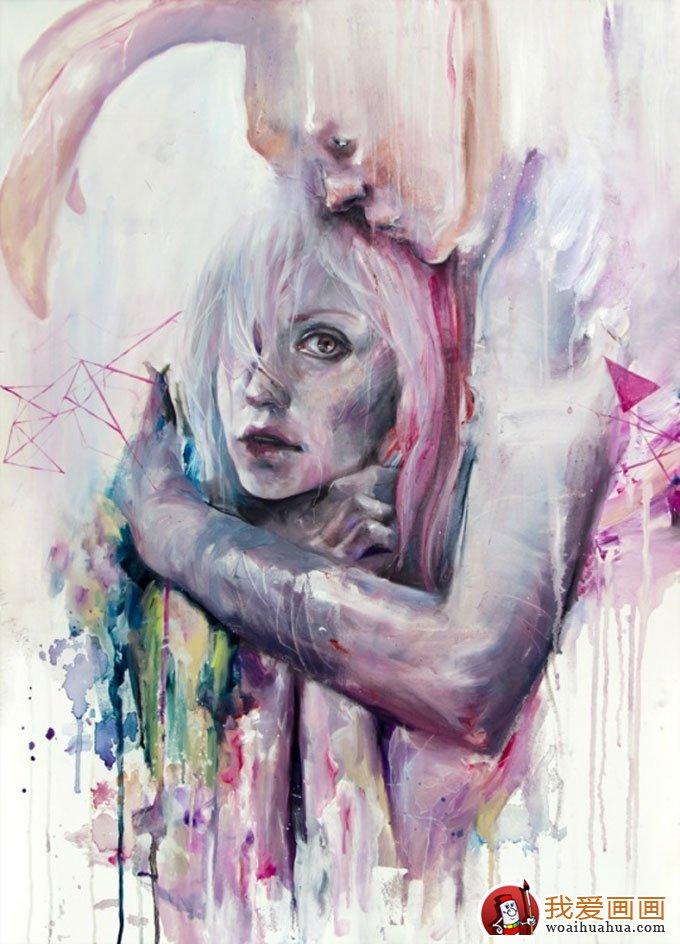 抽象唯美人物水彩画作品欣赏(6)